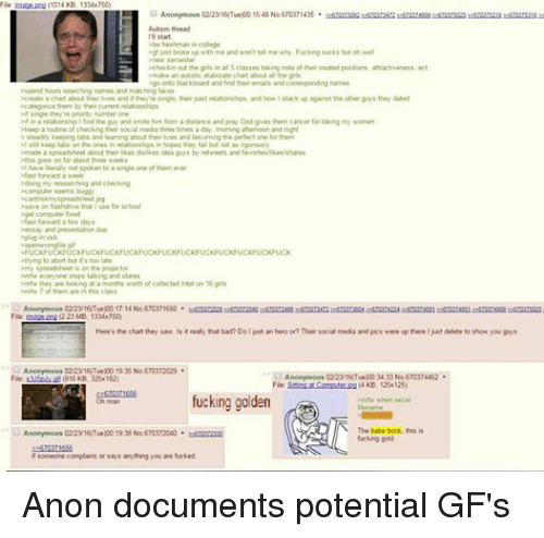 Autists: File  image (1014 KB, 1334x750)  Anonymous 02/23/16Tue)00 15:48 No.670371435  Autism thread  IT start.  be freshman  in college  ogf just broke up with me and won't tell me why. Fucking sucks but oh well  new semester  >checkin out the girls in all 5 classes taking note of their seated positions attractiveness, ect  make an autistic elaborate chart about all the gits  go onto blackboard and find their emails and comesponding names  >spend hours searching names and matching faces  ocreate a chart about their lives and if they're single, their past relationships, and how Istack up against the other guys they dated  categorize them by their current relationships  single they're pnority number one  ifin a relationship the guy and smite him from a distance and pray God gives them cancer for taking my women  keep a routine of checking their social media three times a day morning aftemoon and night  steadily keeping tabs and leaming about their lives and becoming the perfect one for them  >I still keep tabs on the ones in relationships in hopes they falbut not as ngorously  made a spreadsheet about their likes dislikes idea guys by retweets and  favontes/ikes/shares  this goes on for about three weeks  >l have literally not spoken to a single one of them ever  >fast forward a week  odoing my researching and checking  >cant riskmyspreadsheet pg  >save on flashdrive that use for school  get fast forward a few days  essay and presentation due  CKFUCKFUCKFUCKFUCKFUCKFUCKFUCK  >FUCKFUCKFUCKFUCKFUCKFUCKFU  trying to abort but it's too late  omy spreadsheet is on the projector  omfw everyone stops talking and stares  >mfw they are looking at a months worth of collected intel on 16 girls  >mtw 7 of them are in this class  nonymous 02/23/16Tue)00 17:14 No 670371656  File: image peng 223 MB, 1334x7500  Here's the chart they saw. Is it really that bad? Doljust an hero or? Their social media and pics were up there ljust delete to show you guys  Anonymous 02/2316Tue)00 19:35 N