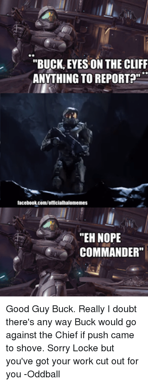 "oddball: ""BUCK EYES ON THE CLIFF  ANYTHING TO REPORT?""  facebook.com/officialhalomemes  ""EHNOPE  COMMANDER"" Good Guy Buck. Really I doubt there's any way Buck would go against the Chief if push came to shove. Sorry Locke but you've got your work cut out for you -Oddball"
