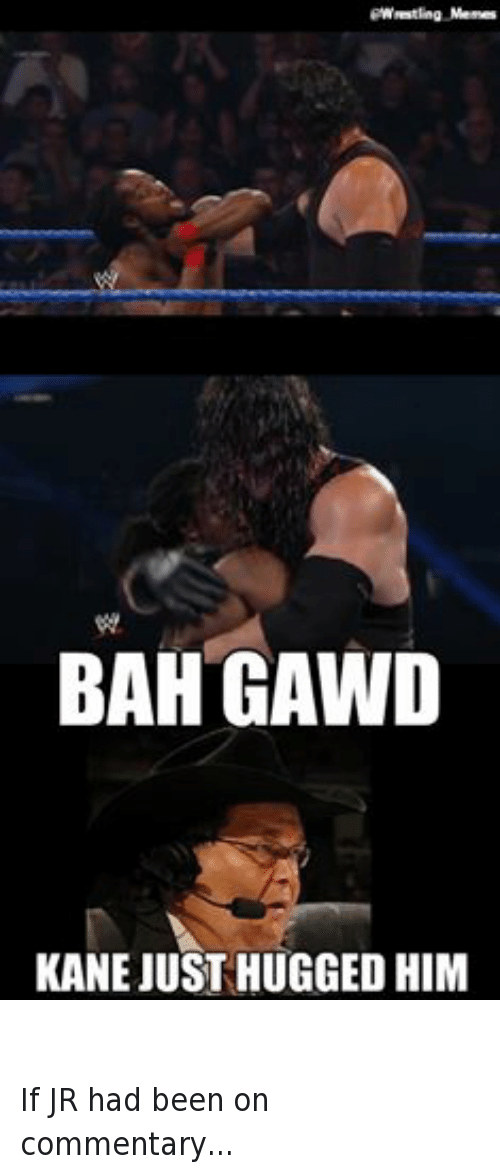 Bah Gawd: Wrestling Memes  BAH GAWD  KANE JUSTHUGGED HIM  STRAIGHT TO HELL! If JR had been on commentary...