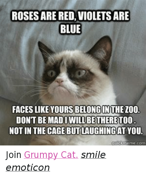 Cat Smiling: IROSES ARE RED, VIOLETS ARE  BLUE  FACES LIKE YOURSIBELONGINTHEZOO.  DON'T BE BE THERE  NOT IN THE CAGE BUTLAUGHINGAT YOU.  guickmeme com Join Grumpy Cat. smile emoticon
