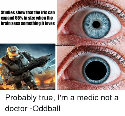 oddball: Studies show thattheiris can  expand 55% in size when the  brain sees something it loves  book.com/officisihalonnemes Probably true, I'm a medic not a doctor -Oddball