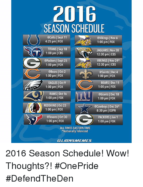 Jaguar 2016 schedule