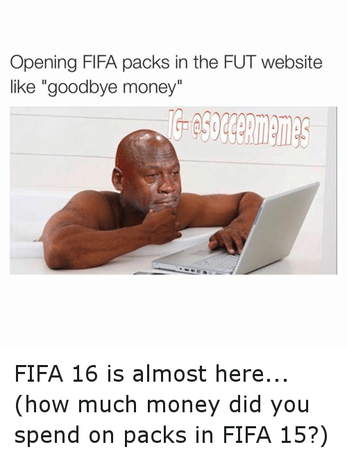 """Fifa 15: Opening FIFA packs in the FUT website  like """"goodbye money"""" FIFA 16 is almost here... (how much money did you spend on packs in FIFA 15?)"""