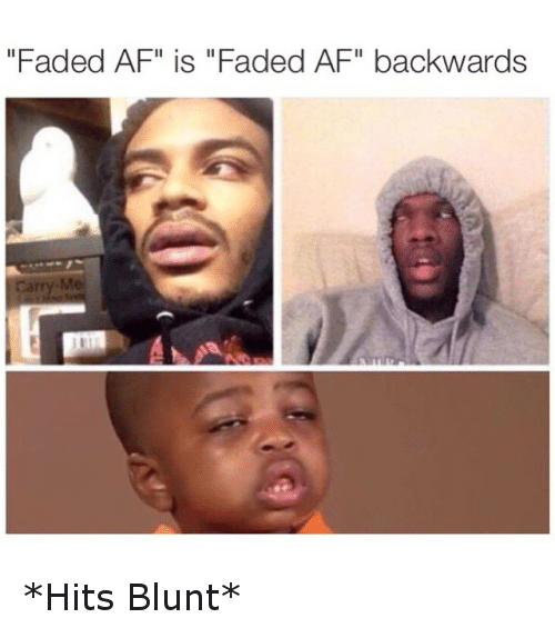 "Faded Af: ""Faded AF"" is ""Faded AF"" backwards *Hits Blunt*"