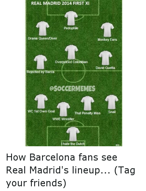 wwe wrestlers: REAL MADRID 2014 FIRST XI  Pedophile  Drama QueenMDiver  Monkey Ears  overpriced Colombian  David Guetta  Rejected by Barca  OSOCCERMEMES  WC 1st Own Goal  That Penalty Miss  Snail  WWE Wrestler  hate the Dut How Barcelona fans see Real Madrid's lineup... (Tag your friends)