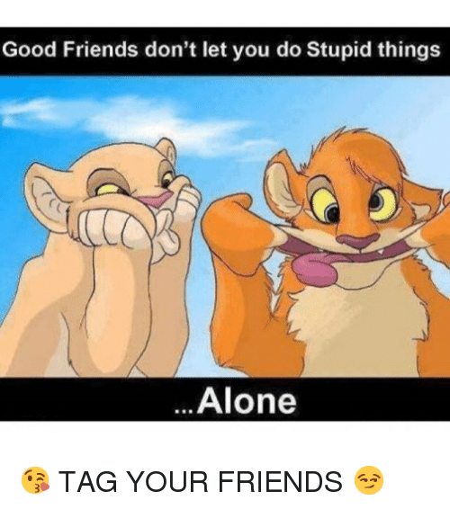 Good Friends Dont Let You Do Stupid Things Alone Tag Your