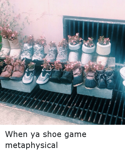 Shoes, What Are Those, and Game: When ya shoe game metaphysical