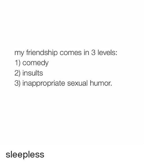 Girl Memes, Insulting, and Comedy: my friendship comes in 3 levels:  1) comedy  2) insults  3) inappropriate sexual humor. sleepless