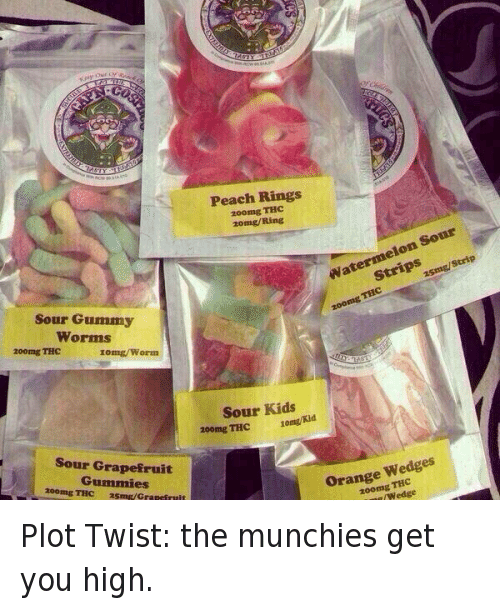 gummy worms: Sour Gummy  Worms  200mg THC  Iomg/Worm  Sour Grapefruit  Gummies  200mg THC Smg/Grapei  Peach Rings  200mg  THC  20mg/Ring  Sour  Watermelon zsmg/Strip  THC  zoomg Sour Kids  200mg THC 10mg/Kid  Orange Wedges  THC  wedge Plot Twist: the munchies get you high.