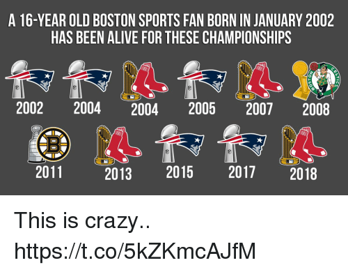 Alive, Crazy, and Football: A 16-YEAR OLD BOSTON SPORTS FAN BORN IN JANUARY 2002  HAS BEEN ALIVE FOR THESE CHAMPIONSHIPS  2002 2004 2004 2005 2007 2008  2011  2013 2015 2017 2018 This is crazy.. https://t.co/5kZKmcAJfM