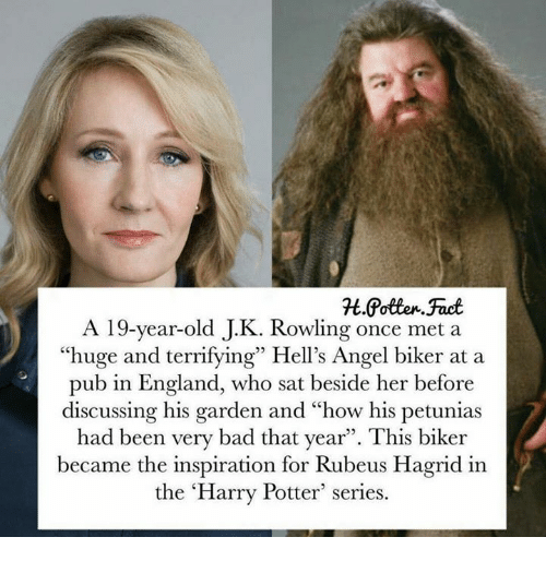 """Bad, England, and Harry Potter: A 19-year-old J.K. Rowling once met a  """"huge and terrifying"""" Hell's Angel biker at a  pub in England, who sat beside her before  discussing his garden and """"how his petunias  had been very bad that year"""". This biker  became the inspiration for Rubeus Hagrid in  the 'Harry Potter series."""