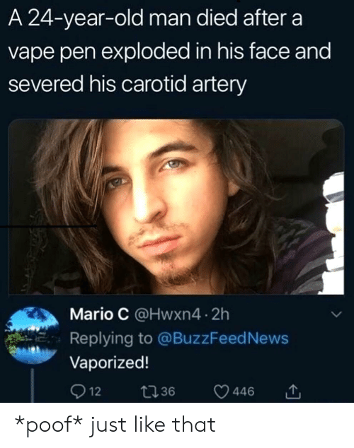 poof: A 24-year-old man died after a  vape pen exploded in his face and  severed his carotid artery  Mario C @Hwxn4 2h  Replying to @BuzzFeed News  Vaporized!  Q 12  t36  446 *poof* just like that