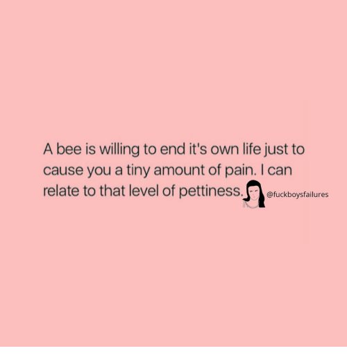Life, Girl Memes, and Pain: A bee is willing to end it's own life just to  cause you a tiny amount of pain. I can  relate to that level of pettiness tudbopstlunes