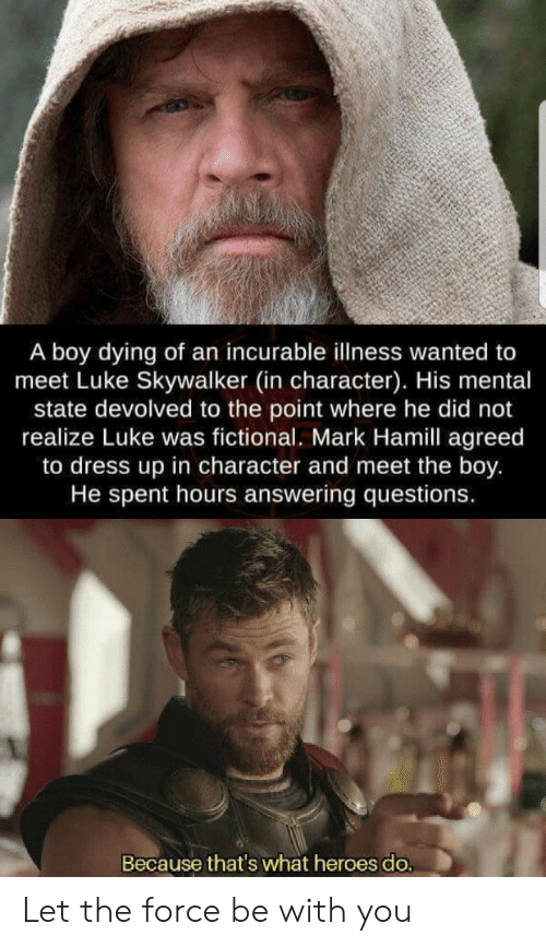 Luke Skywalker, Mark Hamill, and Dress: A boy dying of an incurable illness wanted to  meet Luke Skywalker (in character). His mental  state devolved to the point where he did not  realize Luke was fictional. Mark Hamill agreed  to dress up in character and meet the boy.  He spent hours answering questions.  Because that's what heroes do. Let the force be with you