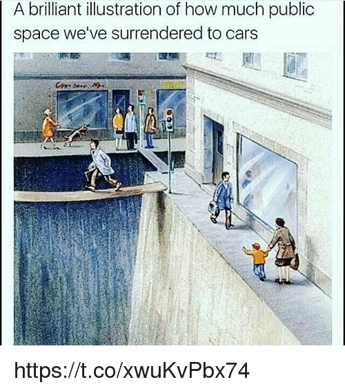 Publicated: A brilliant illustration of how much public  space we've surrendered to cars https://t.co/xwuKvPbx74