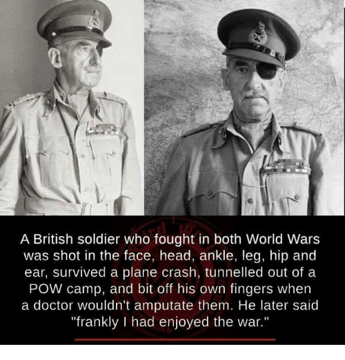 """Doctor, Head, and Memes: A British soldier who fought in both World Wars  was shot in the face, head, ankle, leg, hip and  ear, survived a plane crash, tunnelled out of a  POW camp, and bit off his own fingers when  a doctor wouldn't amputate them. He later said  """"frankly l had enjoyed the war."""""""