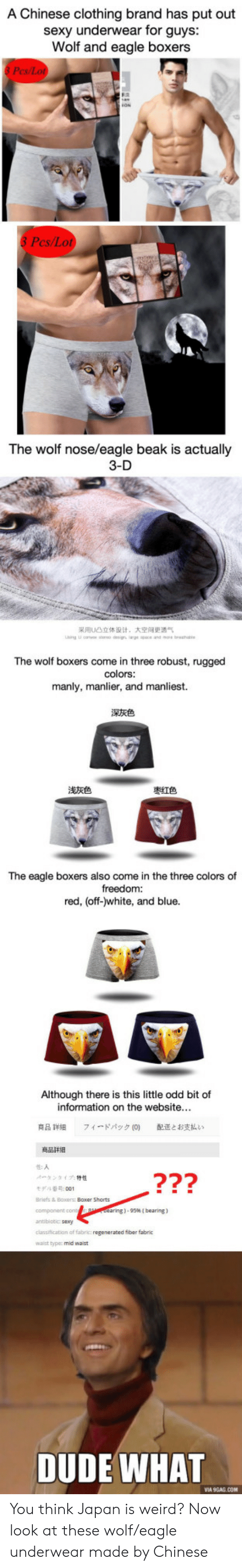 the eagle: A Chinese clothing brand has put out  sexy underwear for guys  Wolf and eagle boxers  3 Pes/Lot  The wolf nose/eagle beak is actually  3-D  采用U凸立体设计,  大空间更透气  The wolf boxers come in three robust, rugged  colors  manly, manlier, and manliest.  深灰色  浅灰色  枣红色  The eagle boxers also come in the three colors of  freedom:  red, (off-)white, and blue.  Although there is this little odd bit of  information on t  he website.  商品詳細  フィードバック  配送とお支払い  ベータンタイプ特性  モデル番 . 001  Briefs & Boxers Boxer Shorts  component con  ntibiotic sexy  classification of fabric: regenerated fiber fabric  walst typec mid wast  ring) . 95% [ bearing)  DUDE WHAT  VIA 9GAG CO You think Japan is weird? Now look at these wolf/eagle underwear made by Chinese