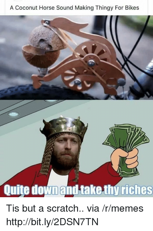 Riches: A Coconut Horse Sound Making Thingy For Bikes  Quite downand take thy riches Tis but a scratch.. via /r/memes http://bit.ly/2DSN7TN
