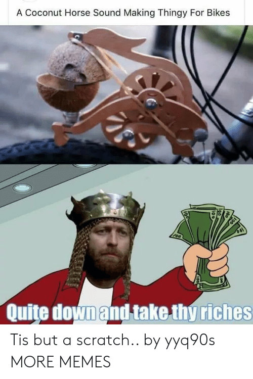 Riches: A Coconut Horse Sound Making Thingy For Bikes  Quite downand take thy riches Tis but a scratch.. by yyq90s MORE MEMES