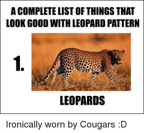 Good, List, and Leopard: A COMPLETE LIST OF THINGS THAT  LOOK GOOD WITH LEOPARD PATTERN  1.  LEOPARDS Ironically worn by Cougars :D
