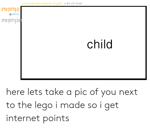 Internet, Lego, and Infinity: a considerable amount of gold a lot of silver  arow pining  infinity  orow poirting dou  child here lets take a pic of you next to the lego i made so i get internet points