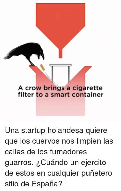 Cigarette, Crow, and Smart: A crow brings a cigarette  filter to a smart container Una startup holandesa quiere que los cuervos nos limpien las calles de los fumadores guarros. ¿Cuándo un ejercito de estos en cualquier puñetero sitio de España?