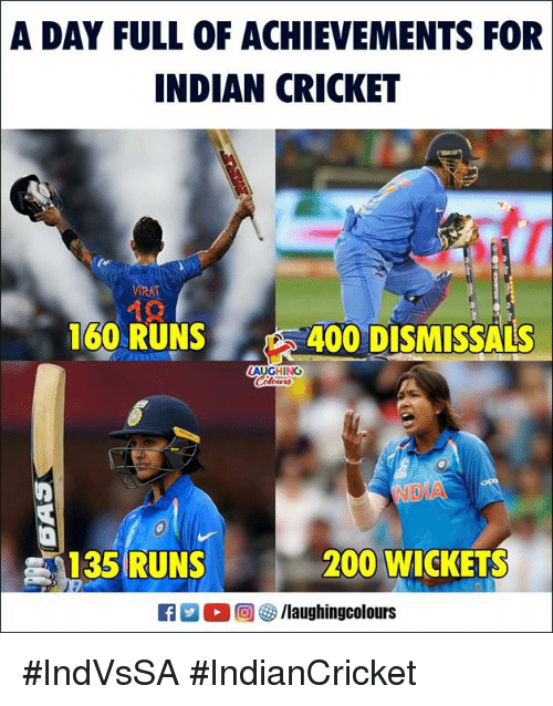 Bailey Jay, Cricket, and Indian: A DAY FULL OF ACHIEVEMENTS FOR  INDIAN CRICKET  160 RUNS 400 DISMIS  SALS  AUGHING  135 RUNS  200 WICKETS  2  回參/laughingcolours #IndVsSA #IndianCricket