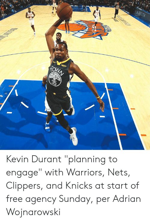 "New York Knicks: A DELTA  KIA  Agtens  KONN  35  ASE Kevin Durant ""planning to engage"" with Warriors, Nets, Clippers, and Knicks at start of free agency Sunday, per Adrian Wojnarowski"