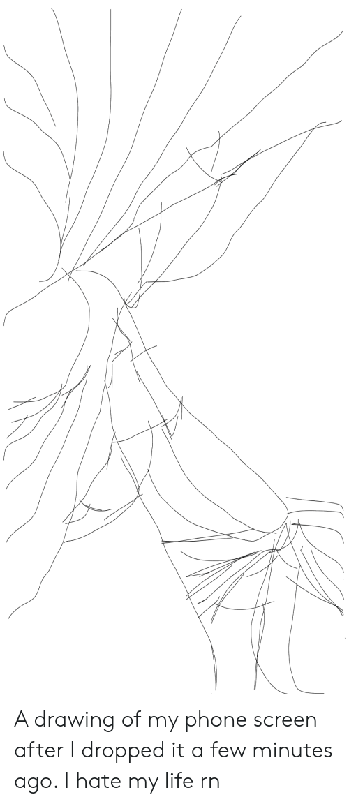 Life, Phone, and Hate: A drawing of my phone screen after I dropped it a few minutes ago. I hate my life rn