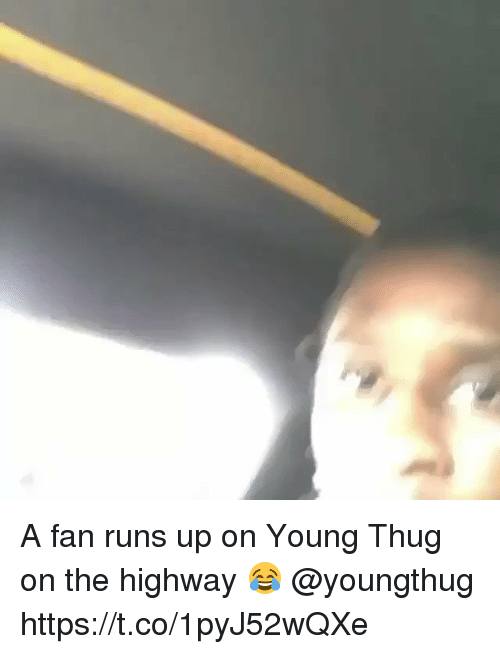 Thug, Young Thug, and Youngthug: A fan runs up on Young Thug on the highway 😂 @youngthug https://t.co/1pyJ52wQXe