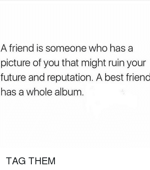 Best Friend, Future, and Memes: A friend is someone who has a  picture of you that might ruin your  future and reputation. A best friend  has a whole album TAG THEM