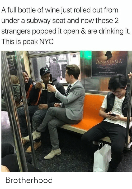 Peak: A full bottle of wine just rolled out from  under a subway seat and now these 2  strangers popped it open & are drinking it.  This is peak NYC  ANASTASIA  r P e Matc Brotherhood