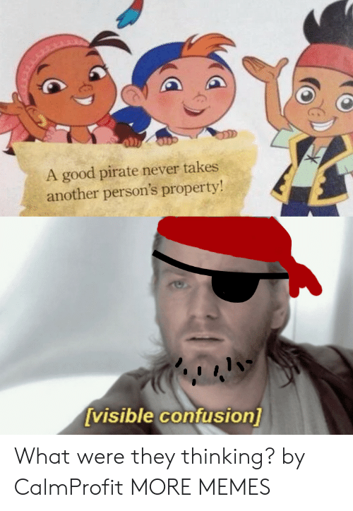 confusion: A good pirate never takes  another person's property!  [visible confusion] What were they thinking? by CalmProfit MORE MEMES