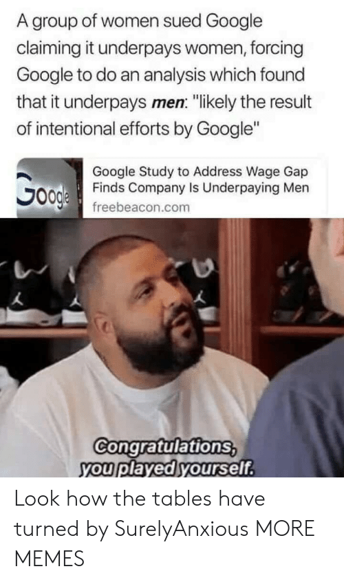 """Congratulations You Played Yourself, Dank, and Google: A group of women sued Google  claiming it underpays women, forcing  Google to do an analysis which found  that it underpays men: """"likely the result  of intentional efforts by Google""""  Google Study to Address Wage Gap  Finds Company Is Underpaying Men  freebeacon.com  Congratulations  you played yourself Look how the tables have turned by SurelyAnxious MORE MEMES"""