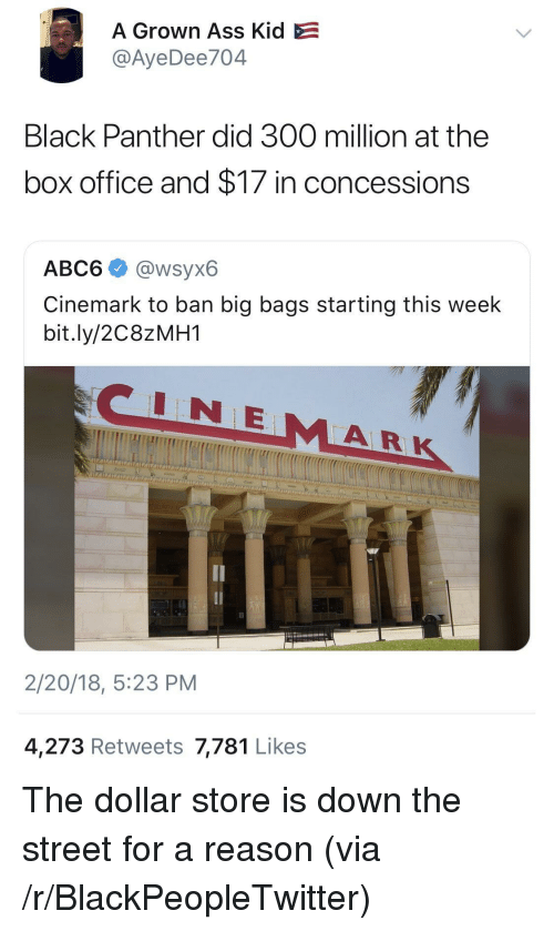 Dollar Store: A Grown Ass Kid  @AyeDee704  Black Panther did 300 million at the  box office and $17 in concessions  ABC6 @wsyx6  Cinemark to ban big bags starting this week  bit.ly/2C8ZMH1  NE  AR  2/20/18, 5:23 PM  4,273 Retweets 7,781 Likes <p>The dollar store is down the street for a reason (via /r/BlackPeopleTwitter)</p>