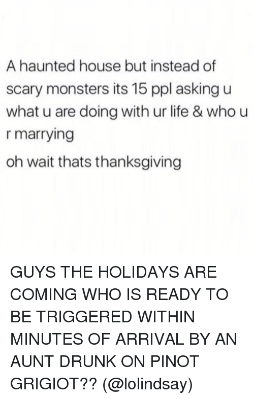 U What: A haunted house but instead of  scary monsters its 15 ppl asking u  what u are doing with ur life & who u  r marrying  oh wait thats thanksgiving GUYS THE HOLIDAYS ARE COMING WHO IS READY TO BE TRIGGERED WITHIN MINUTES OF ARRIVAL BY AN AUNT DRUNK ON PINOT GRIGIOT?? (@lolindsay)