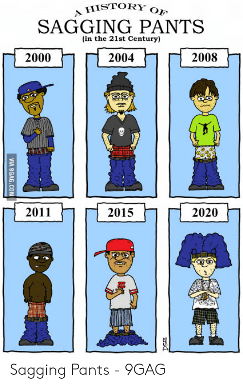 Saggy Pants Meme: A HISTORY  OF  SAGGING PANTS  (in the 21st Century)  2008  2000  2004  2011  2015  2020 Sagging Pants - 9GAG