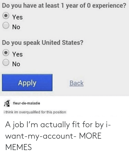 job: A job I'm actually fit for by i-want-my-account- MORE MEMES