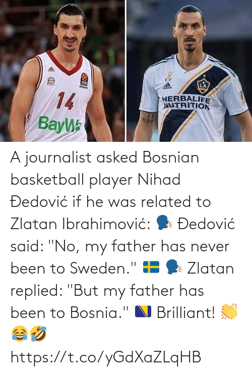 "Brilliant: A journalist asked Bosnian basketball player Nihad Đedović if he was related to Zlatan Ibrahimović:   🗣 Đedović said: ""No, my father has never been to Sweden."" 🇸🇪  🗣 Zlatan replied: ""But my father has been to Bosnia."" 🇧🇦  Brilliant! 👏😂🤣 https://t.co/yGdXaZLqHB"