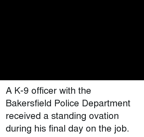Memes, Police, and 🤖: A K-9 officer with the Bakersfield Police Department received a standing ovation during his final day on the job.
