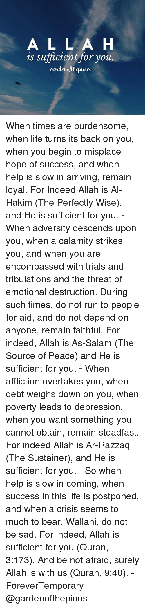 Salamence: A L L A H  is sufficient for you  gatdemejthepiets When times are burdensome, when life turns its back on you, when you begin to misplace hope of success, and when help is slow in arriving, remain loyal. For Indeed Allah is Al-Hakim (The Perfectly Wise), and He is sufficient for you. - When adversity descends upon you, when a calamity strikes you, and when you are encompassed with trials and tribulations and the threat of emotional destruction. During such times, do not run to people for aid, and do not depend on anyone, remain faithful. For indeed, Allah is As-Salam (The Source of Peace) and He is sufficient for you. - When affliction overtakes you, when debt weighs down on you, when poverty leads to depression, when you want something you cannot obtain, remain steadfast. For indeed Allah is Ar-Razzaq (The Sustainer), and He is sufficient for you. - So when help is slow in coming, when success in this life is postponed, and when a crisis seems to much to bear, Wallahi, do not be sad. For indeed, Allah is sufficient for you (Quran, 3:173). And be not afraid, surely Allah is with us (Quran, 9:40). - ForeverTemporary @gardenofthepious