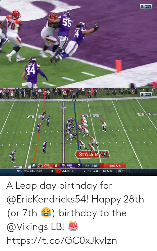 Happy: A Leap day birthday for @EricKendricks54!  Happy 28th (or 7th 😂) birthday to the @Vikings LB! 🎂 https://t.co/GC0xJkvIzn