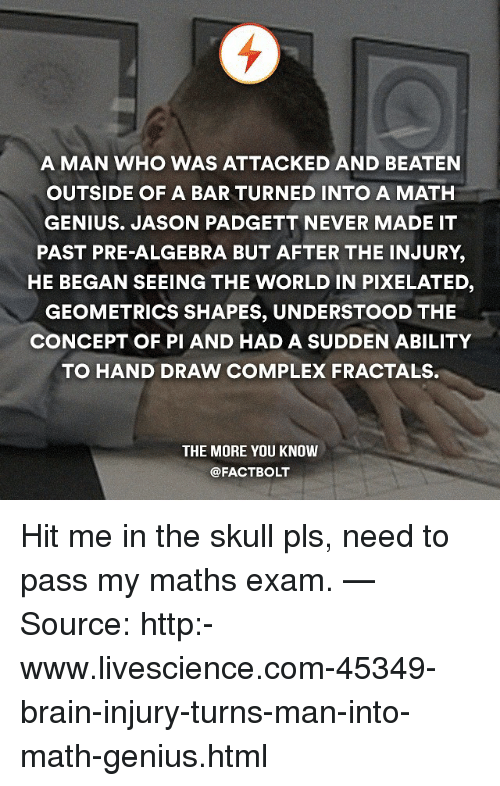 Memes, The More You Know, and Pixels: A MAN WHO WAS ATTACKED AND BEATEN  OUTSIDE OF A BAR TURNED INTO A MATH  GENIUS. JASON PADGETT NEVER MADE IT  PAST PRE-ALGEBRA BUT AFTER THE INJURY,  HE BEGAN SEEING THE WORLD IN PIXELATED  GEOMETRICS SHAPES, UNDERSTOOD THE  CONCEPT OF PI AND HAD A SUDDEN ABILITY  TO HAND DRAW COMPLEX FRACTALS.  THE MORE YOU KNOW  @FACTBOLT Hit me in the skull pls, need to pass my maths exam. — Source: http:-www.livescience.com-45349-brain-injury-turns-man-into-math-genius.html