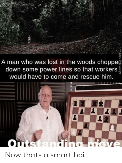 Lost, Power, and Boi: A man who was lost in the woods choppeğ  down some power lines so that workers  would have to come and rescue him.  Outstandina move Now thats a smart boi