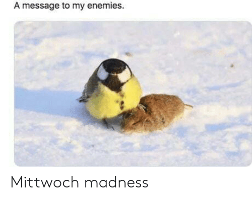 Enemies, Madness, and  Message: A message to my enemies. Mittwoch madness