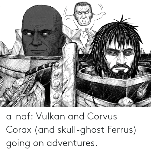 Skull: a-naf:  Vulkan and Corvus Corax (and skull-ghost Ferrus) going on adventures.