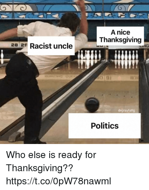 Funny, Politics, and Thanksgiving: A nice  Thanksgiving  28 2s Racist uncle  drgrayfang  Politics Who else is ready for Thanksgiving?? https://t.co/0pW78nawml