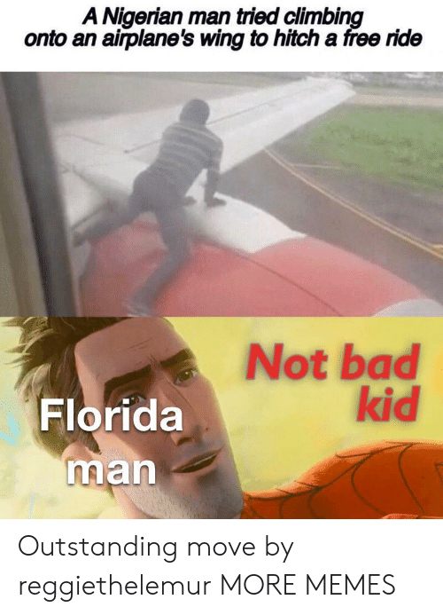 Bad, Climbing, and Dank: A Nigerian man tried climbing  onto an airplane's wing to hitch a free ride  Not bad  kid  Florida  man Outstanding move by reggiethelemur MORE MEMES