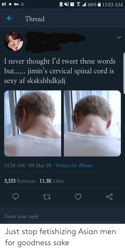 iphone 3: A NO 7 M 68%  11:03 AM  Thread  I never thought I'd tweet these words  but... jimin's cervical spinal cord is  sexy af skskshhdkjdj  11:34 AM · 04 Mar 19 · Twitter for iPhone  3,333 Retweets 11.3K Likes  Tweet your reply Just stop fetishizing Asian men for goodness sake