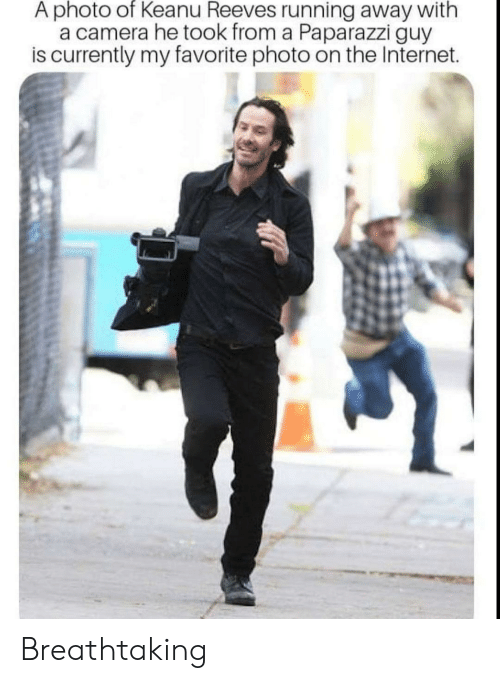 running away: A photo of Keanu Reeves running away with  a camera he took from a Paparazzi guy  is currently my favorite photo on the Internet. Breathtaking